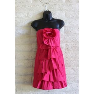 BCBG MaxAzria NWT 80's hot pink rose ruffle dress